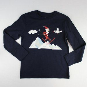 Gap Kids Boys Long Sleeve Christmas T Shirt Navy